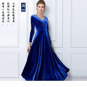 New Spring Fashion V Neck Gorgeous Shimmer Velvet Stretchy Maxi Long Dress Women Formal Evening Clothing Plus Size S-XXL