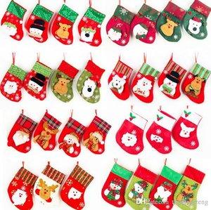 Mini Bas de Noël Bonhomme de neige Elk Père Noël Candy Bag Sacs cadeau pour les enfants d'arbre de Noël Ornement accrochant Sac Couverts Accueil EWC2895