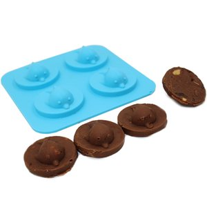 Creative 4 отверстия 3D Dolphin Ледяная плесень Силиконовый ледяной кубик лоток DIY торт шоколадная плесень производитель виски виски бар аксессуары инструменты GWE3942