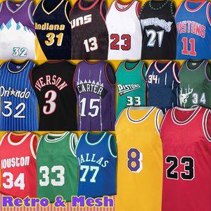 77 Jersey Doncic Luka Hakeem Retro Allen Olajuwon Iverson Kevin Ray Garnett Ray Vince 15 Carter Baloncesto Grant Scottie Pippen Hill Hombres