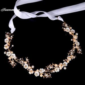Tuanming Altın Kristal Saç Takı Kadın Gelin Bantlar Inci Çiçekler Düğün Saç Bantları Gelin Tiaras Aksesuarları Crown1