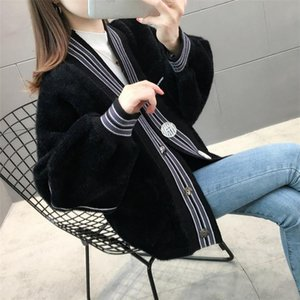 Hot sale new fashion jacket ladies design black blue light card color button pocket loose fashion knitted cardigan women autumn and winter a