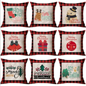 45*45cm Christmas Red Grids Linen Letters Cartoon Printed Pillow Case Casual Fashion Throw illow Covers Home Decoration Supplies E102602