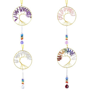 TUMBEELLUWA Wire Wrapped Tree of Life Crystal Hang Decorations,Healing Crystal Prism Ball Chakra Colors Beads Rainbow Suncatcher