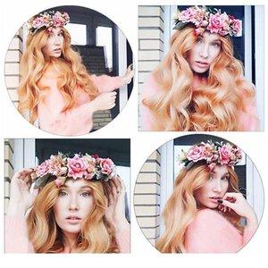 Haimeikang nova chegada boho mulheres rosa flor coroa headband praia headwear fita floral fita bandas grinalda cabelo acc qylhlo