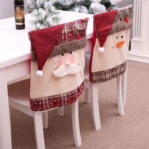 Sedie Decorazioni di Natale della sedia della copertura Mall hotel partito ornamenti Babbo Red Hat sedia cover posteriore Dinner Chair Cap 60pcs T1I2850