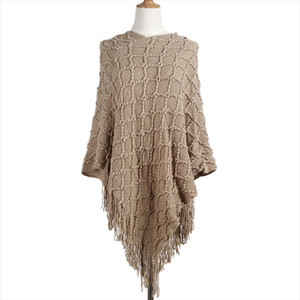 2017 sweater Women V Collar Style Tassel Cloak Long Solid Color sweaters Hot Sell Europe And The United States Vestidos MMY69147