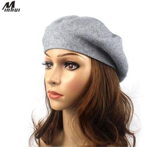 Berretti Berretto di lana Minhui per le donne Cappello solido lavorato a maglia Gorro Cappelli femminili Cappelli invernali