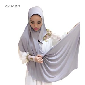0TJ57 180*70cm Solid Easy Hijab Women Of Scarves Muslim Hijabs High Quality Hijab Beautiful Fashion Shawl Cap(with1 Undescarf Y201007