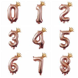 32inch Rose Gold Crown Numéro Foil Ballons heureux Birthday Party Décorations enfants Digit Air Globos Figure Ballon mariage Décor qylwtQ