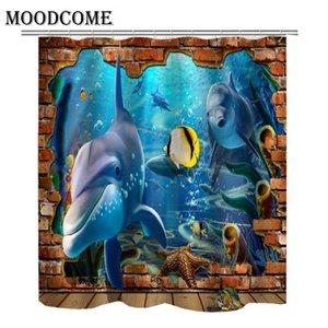 돌고래 물고기 샤워 커튼 폴리 에스테르 CORTINAS 파라 ducha 방수 욕실 커튼 샤워