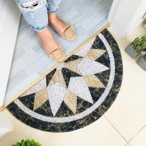 Marble Pattern Anti-slip Doormat Floor Mat Entrance Front Door Floor Rugs Semicircle Scrape Bathroom Door Mat Entrance