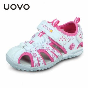 2020 UOVO Girls Shoes Sandals Summer Closed Toe Sandals for Kids Beach white Pink