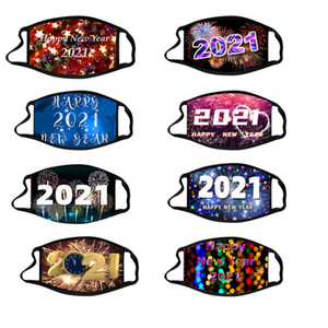 2021 Happy New Year Designer Masque masques Chrismas Party Washable Reuseable masque facial Masques de coton Protection Imprimé numérique w-00423