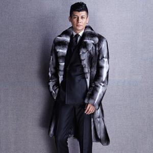 Genunie manteaux de fourrure de luxe haut chinchilla manteau chaud moyen à long épaisse fourrure mode vêtements pour hommes véritables New Phoenix 1111D t5nV #