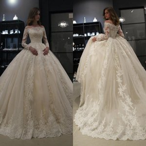 Long Sleeves Arabic African Black Girls Wedding Dresses Off Shoulder Lace Applique Sequins Bridal Gowns