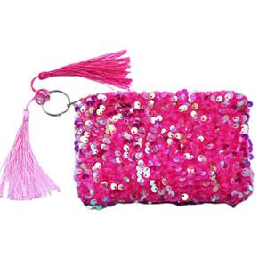 Fashion Tassel Sequin Coin Purse Coin Storage Bag Portable Ladies Party Decoration Clutch Bag 7 Colors