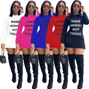 Women Dresses Sexy Offset Print Letters Make Money Not Friends Casual Solid Color Autumn Hooded Long Sleeves One-piece Dress S-3XL D102201