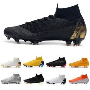 Genuine Mercurial Superfly VI 360 Elite FG Knitted Fly Waterproof 12 CR7 Elite Neymar Mens Women High Soccer Shoes Football Boots Cleats