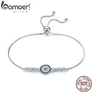 BAMOER 925 Sterling Silver Lucky Round Blue Eyes Power Tennis Bracelet Pave CZ Adjustable Link Chain Bracelets Jewelry LJ201020