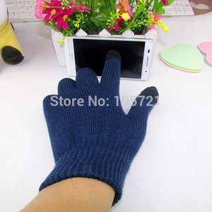 Wholesale-Candy Color Mens Womens Touch Screen Gloves Full Finger Solid Winter Mittens