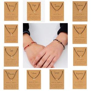 جديد 12 زودياك تسجيل زوجين أساور مع بطاقة كوكبة برجك سحر الأحمر الأسود حبل سلاسل الإسورة النساء الرجال الأزياء والمجوهرات 317 G2