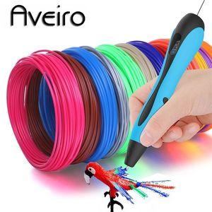 Aveiro 3D Pen LED schermo FAI DA TE 3 D Penne da stampa Set 100m PLA / ABS Filamento Creativo giocattolo regalo per bambini design disegno 201214