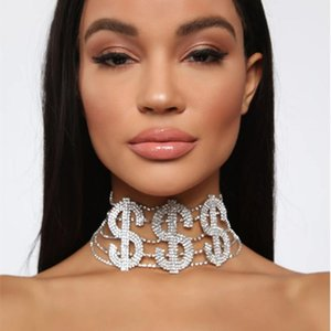 Dollar Sign Shining Letter Choker Hairpins Crystal Rhinestone Choker Women Gold Sliver Necklace Hip Hop Gothic Collier Femme