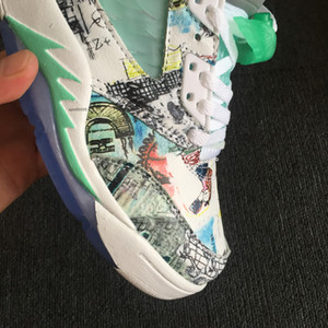 New Jumpman V Jumpman 5 Wings White Green ICe Blue Graffiti Kids Basketball Shoes for Best Qaulity Mens Trainers 5s Sports Sneakers