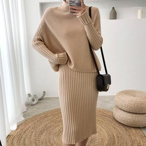 New Arrival Winter High Quality Pullover Knitted Sweater Top + Korean Casual Elasticity Dress Vestido Women's 2 Pieces Set1