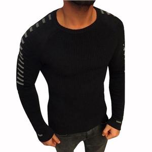 Мужские свитера Vogue Winter с длинным рукавом o шеи мужские вязаные хорошие моды полосатый пэчворк плиссированный свитер пуловер топы гомбе