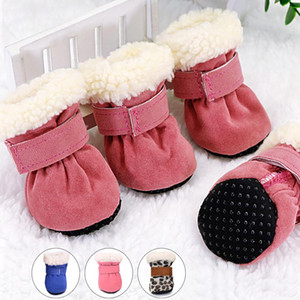 4pcs Pet Dog Shoes Waterproof Winter Dog Boots Socks Anti-slip Puppy Cat Rain Snow Booties Footwear For Small Dogs C bbyRvK