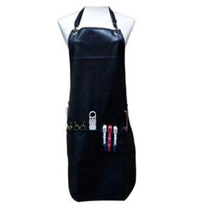Black Professional Barber Apron with Pockets Leather Waterproof PU Hairdressing Apron Cape Cutting Hair Cape for Barber
