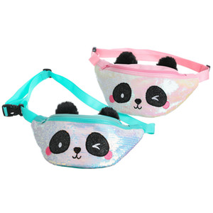Kid Panda Pencil Waist Bag Belt Fanny Pack Beach Bag Student Teenager Purses Sports Unisex Cartoon Gym Outdoor Cosmetic Cute Sequin Bags