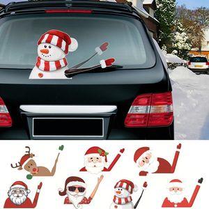 Qifu Papai Noel boneco de neve adesivo de carro Feliz decorações de Natal para Início de 2020 Presentes Xmas Ornamentos Navidad Feliz Ano Novo 2021