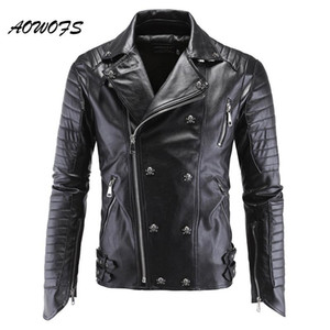 AOWOFS Mens Leather Jackets Preto Motorcycle PP Crânio Leather Jackets rebites Zipper Slim Fit acolchoado Punk Jacket motociclista Brasão 5XL