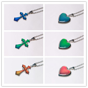 peach heart cross mood necklace chang color Color-changing butterfly necklace with stainless steel chain