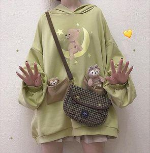 2020 Harajuku Lolita Bear Baby Graphic Sweatshirt Women Kawaii Clothes Spring Oversized Loose Thick Hoodies Long Tops Schoolgirl