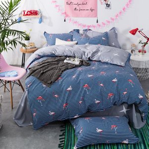 "Flamingo birds 100% cotton 78.7""x90.5"" duvet cover flat sheet pillow case kids bedding set 4pcs queen bedclothes"