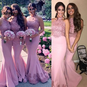 Blush Pink Mermaid Bridesmaid Dresses Halter Beaded Floor Length 2021 Newest African Plus Size Maid of Honor Gown Wedding Guest