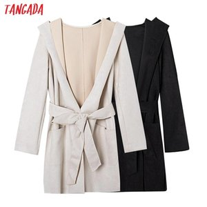 Tangada women Suede long trench coat with belt 2020 autumn winter elegant female outwear windbreak 4H07