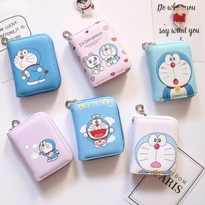 Doraemon Pattern Womens Fashion Prints Mini Wallets Coin Purse Large Capacity Clutch PU Leather Ladies Card Holder Wallets