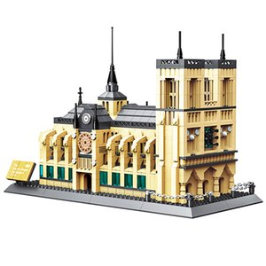 Wange 5210 Architecture NOTRE DAME CATHEDRAL of Paris Building Blocks Classic Landmark Model Bricks Toys For Children Q0123