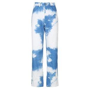 Casual Y2K Tie Dye Print Joggers Pants Women Fashion Harajuku High Waist Pants Capris Pocket Long Trousers Streetwear