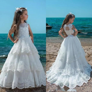 New Flowergirl Dresses Jewel Neck Floral Lace Top A Line Tiered Tulle Skirt Hollow Lace-up Back Flower Girls Dresses for Weddings