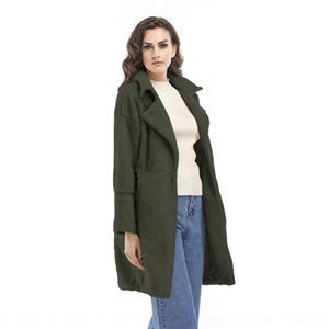 U32W Invierno Cuello de peluche Lapel Mujer Color Color Abrigo Moda Cardigan Wool Coats Outerwear Solid Long Mujeres Casual