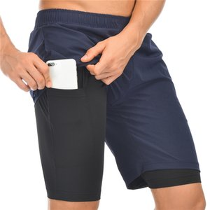 2020 NEW Mens Running Shorts 2 in 1 Sports Shorts Male double-deck Fitness Quick Drying Sports man Jogging Gym men