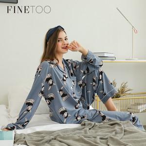 Finetoo Kadınlar Güzel Tavşan Pijama Setleri Sonbahar Kış Pantolon Pamuk Karikatür Seksi Pijama Kadınlar Homewear Hayvan Kadın Pijama 201102