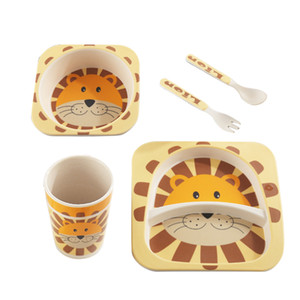 Bamboo Fibra per bambini Tableware Forma Lion Mangiare Cibo Complementary Food Bowl Baby Dinner Plate Baby Grid Cartoon Riso Ciotola Forcella Set di cucchiaio