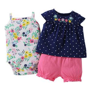 Temps préféré Nouvelle Fashion Baby Girl Vêtements 100% coton Été Vêtements de bébé Ensemble T-shirt + Body Body + Pantalon Dessin animé Imprimé LJ201223